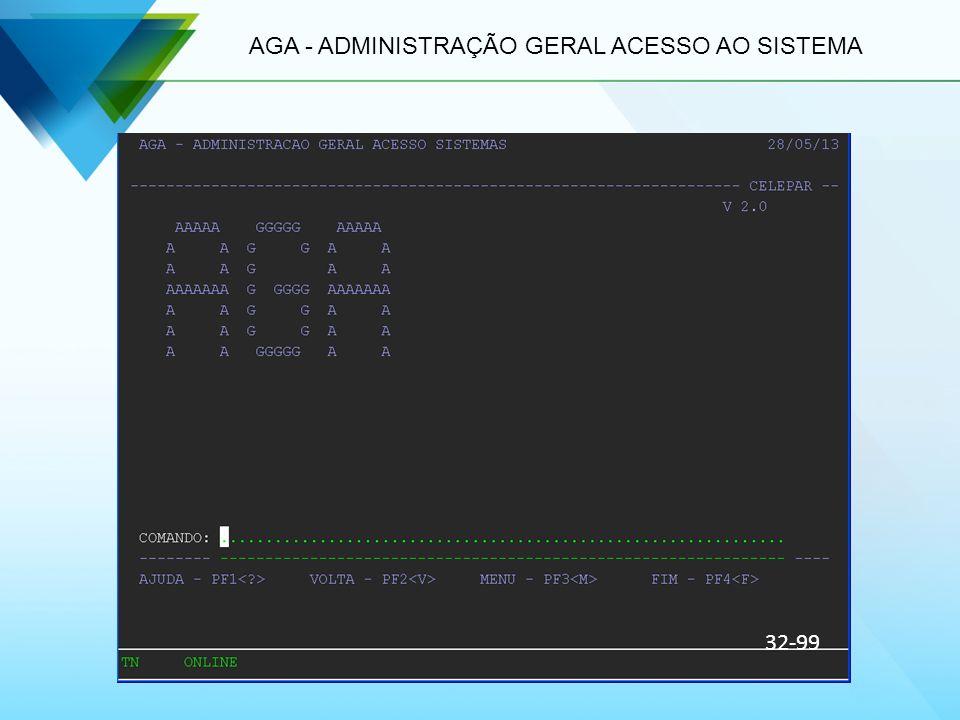 AGA - ADMINISTRAÇÃO GERAL ACESSO AO SISTEMA 32-99