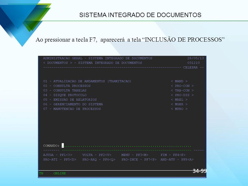 SISTEMA INTEGRADO DE DOCUMENTOS Ao pressionar a tecla F7, aparecerá a tela INCLUSÃO DE PROCESSOS 34-99