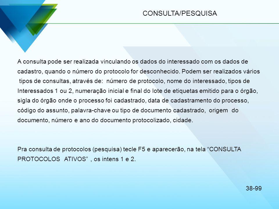 CONSULTA/PESQUISA A consulta pode ser realizada vinculando os dados do interessado com os dados de cadastro, quando o número do protocolo for desconhe