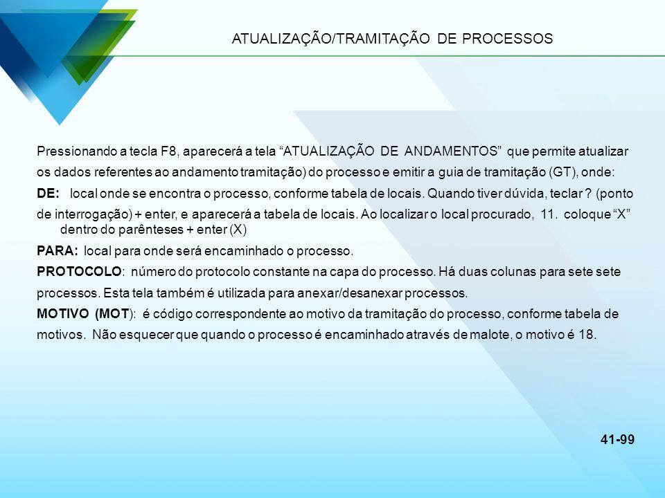 ATUALIZAÇÃO/TRAMITAÇÃO DE PROCESSOS Pressionando a tecla F8, aparecerá a tela ATUALIZAÇÃO DE ANDAMENTOS que permite atualizar os dados referentes ao a