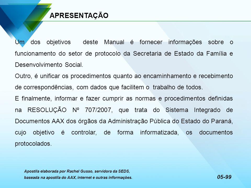 APRESENTAÇÃO Um dos objetivos deste Manual é fornecer informações sobre o funcionamento do setor de protocolo da Secretaria de Estado da Família e Des