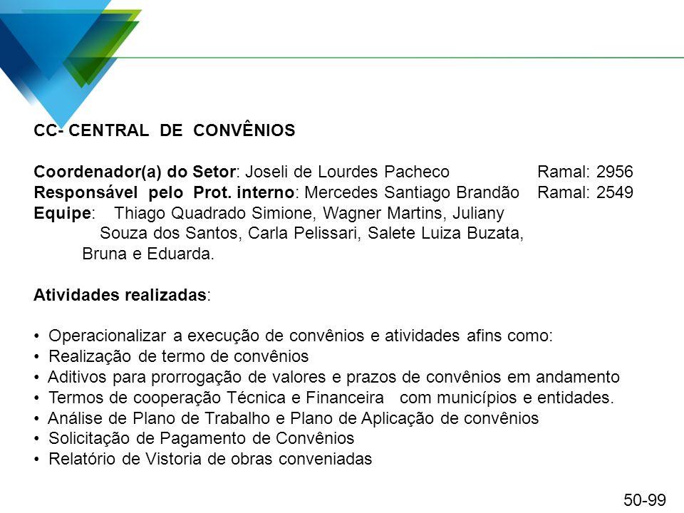 CC- CENTRAL DE CONVÊNIOS Coordenador(a) do Setor: Joseli de Lourdes Pacheco Ramal: 2956 Responsável pelo Prot. interno: Mercedes Santiago Brandão Rama