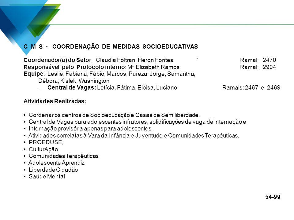C M S - COORDENAÇÃO DE MEDIDAS SOCIOEDUCATIVAS Coordenador(a) do Setor: Claudia Foltran, Heron FontesRamal: 2470 Responsável pelo Protocolo interno: M