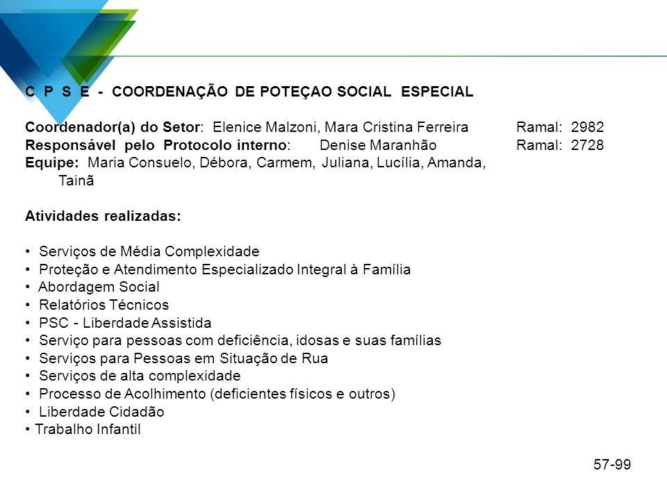 C P S E - COORDENAÇÃO DE POTEÇAO SOCIAL ESPECIAL Coordenador(a) do Setor: Elenice Malzoni, Mara Cristina Ferreira Ramal: 2982 Responsável pelo Protoco