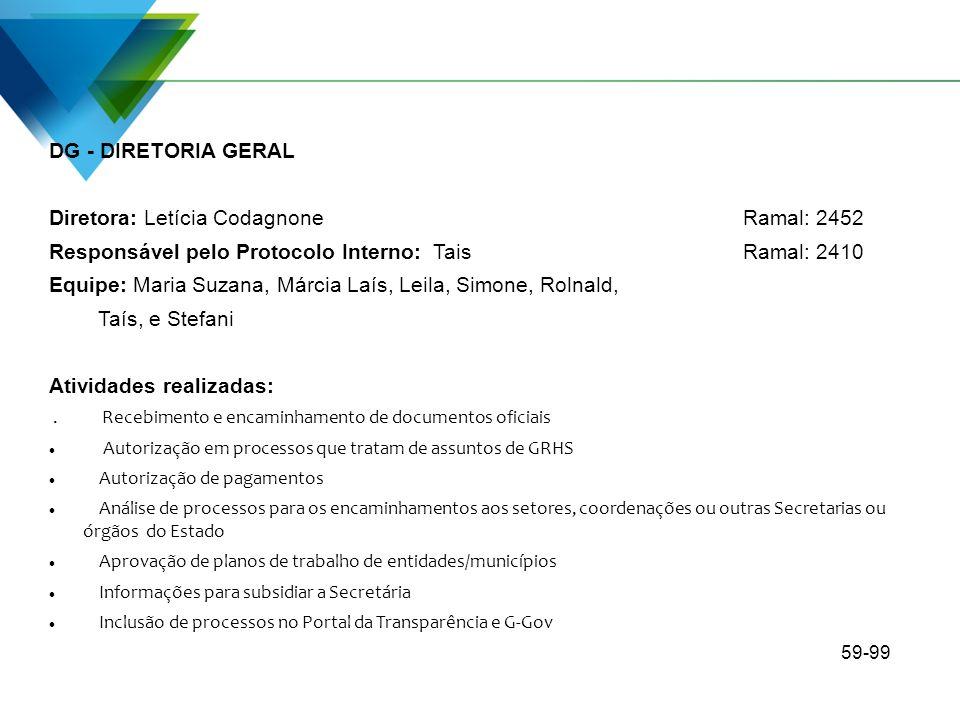 DG - DIRETORIA GERAL Diretora: Letícia Codagnone Ramal: 2452 Responsável pelo Protocolo Interno: TaisRamal: 2410 Equipe: Maria Suzana, Márcia Laís, Le