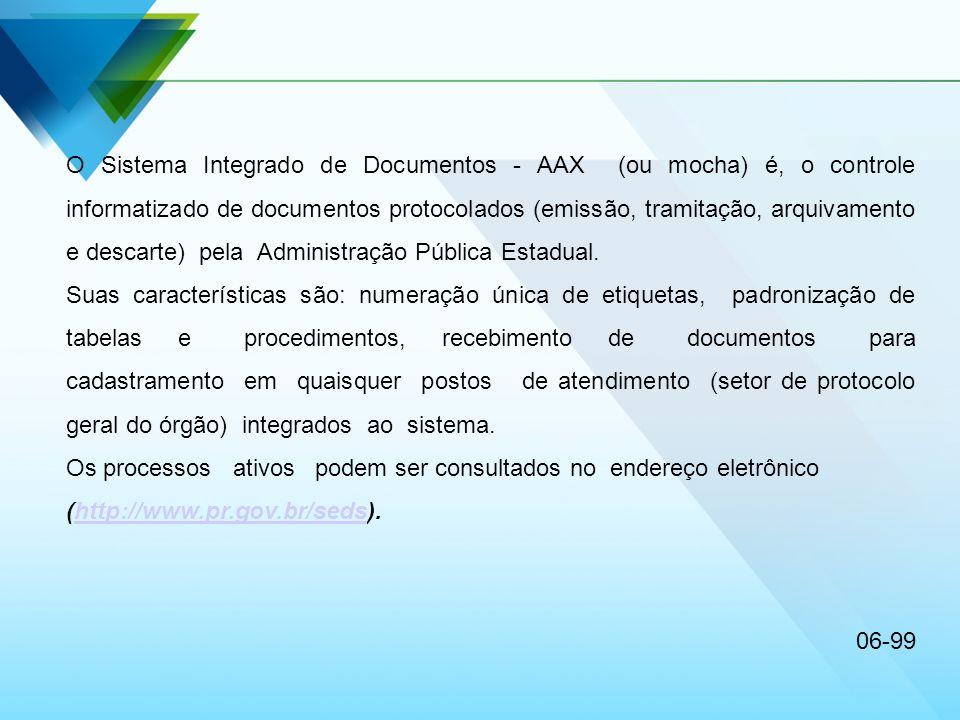 O Sistema Integrado de Documentos - AAX (ou mocha) é, o controle informatizado de documentos protocolados (emissão, tramitação, arquivamento e descart