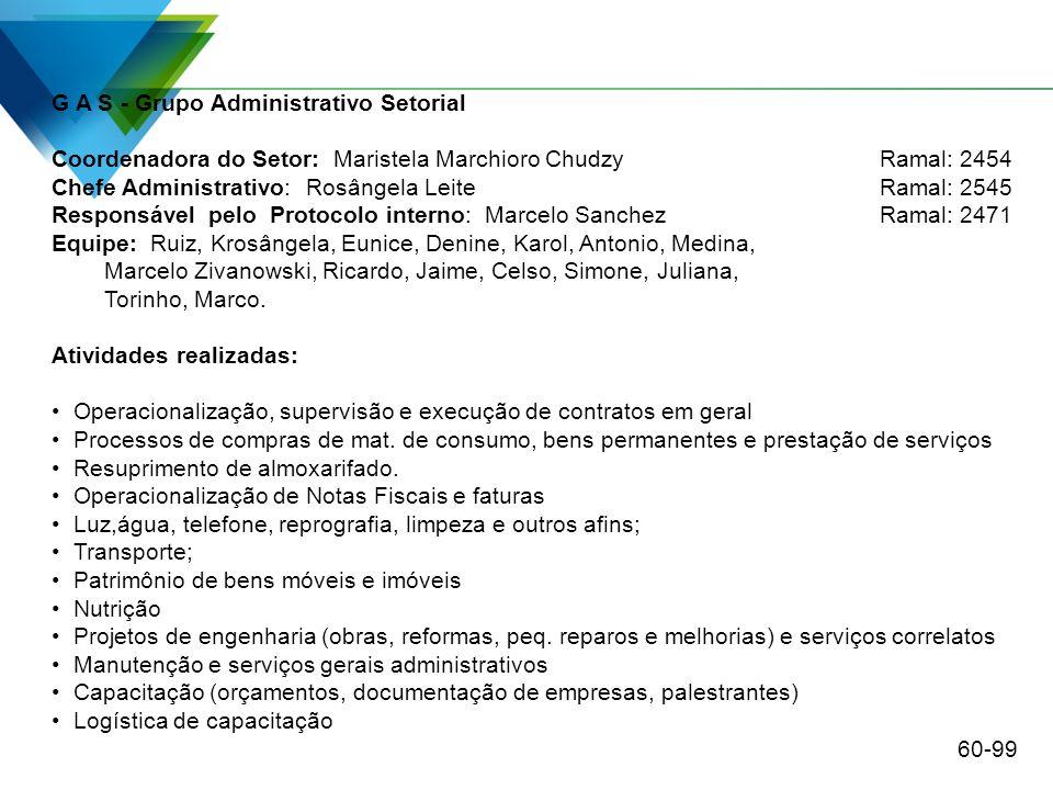 G A S - Grupo Administrativo Setorial Coordenadora do Setor: Maristela Marchioro ChudzyRamal: 2454 Chefe Administrativo: Rosângela Leite Ramal: 2545 R