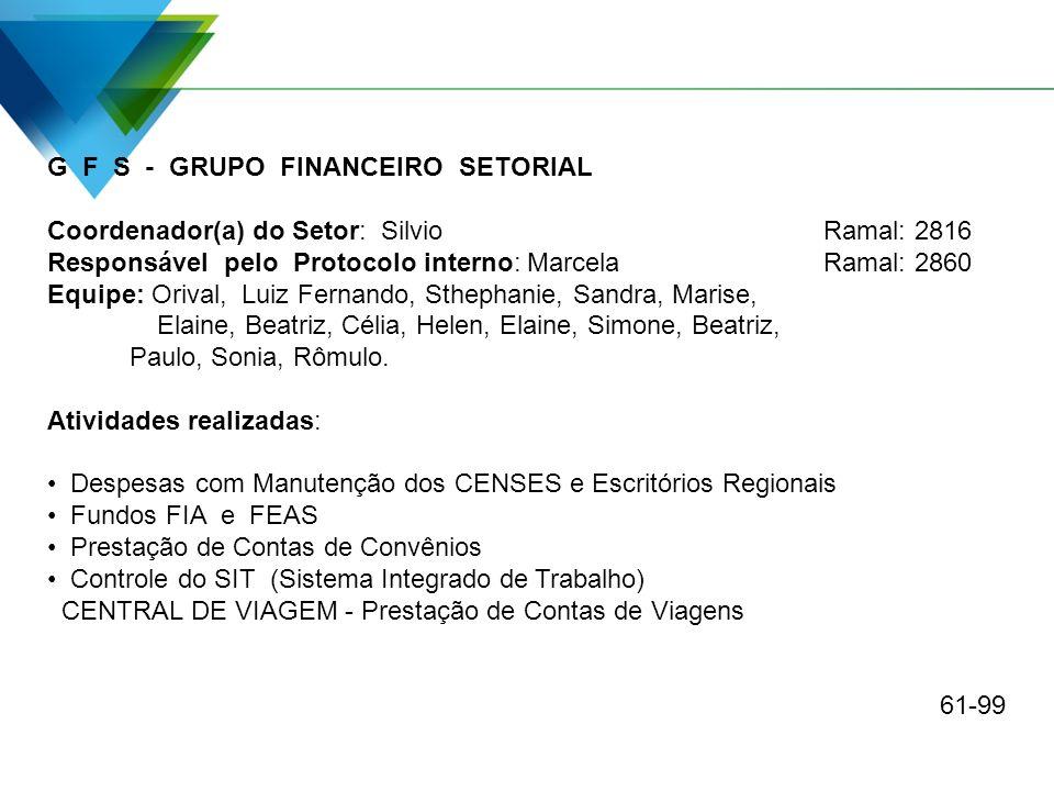 G F S - GRUPO FINANCEIRO SETORIAL Coordenador(a) do Setor: Silvio Ramal: 2816 Responsável pelo Protocolo interno: MarcelaRamal: 2860 Equipe: Orival, L