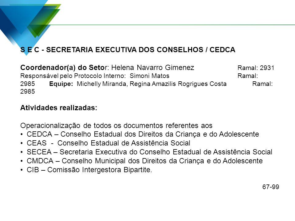 S E C - SECRETARIA EXECUTIVA DOS CONSELHOS / CEDCA Coordenador(a) do Setor: Helena Navarro Gimenez Ramal: 2931 Responsável pelo Protocolo Interno: Sim