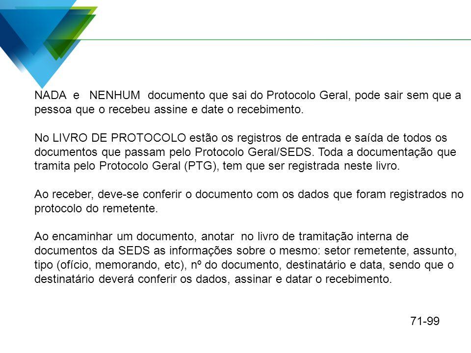 NADA e NENHUM documento que sai do Protocolo Geral, pode sair sem que a pessoa que o recebeu assine e date o recebimento. No LIVRO DE PROTOCOLO estão
