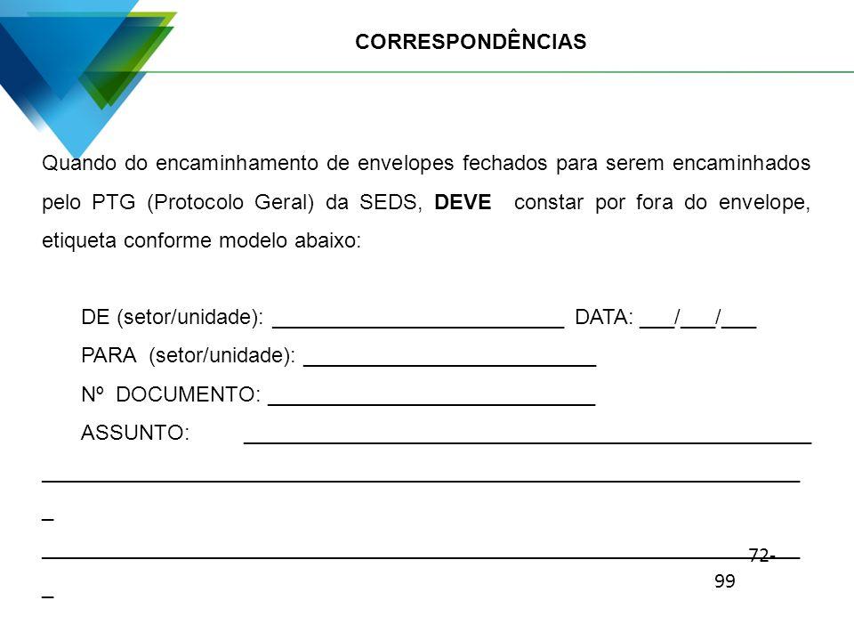 CORRESPONDÊNCIAS Quando do encaminhamento de envelopes fechados para serem encaminhados pelo PTG (Protocolo Geral) da SEDS, DEVE constar por fora do e