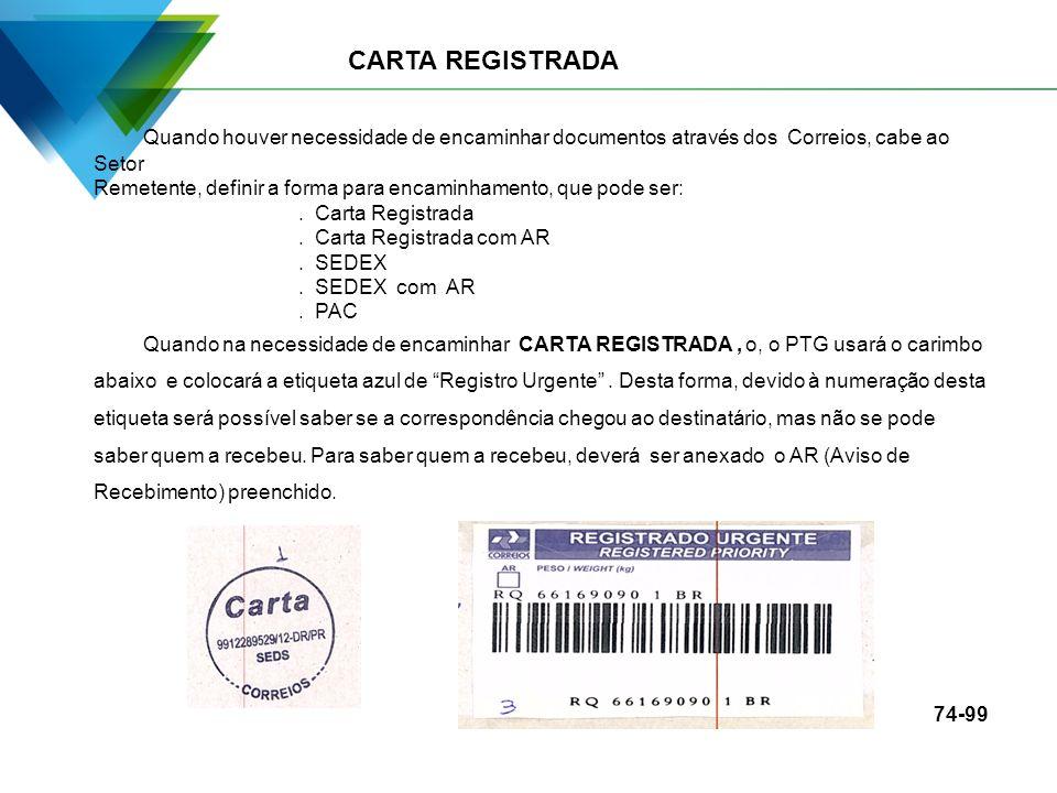 CARTA REGISTRADA Quando houver necessidade de encaminhar documentos através dos Correios, cabe ao Setor Remetente, definir a forma para encaminhamento