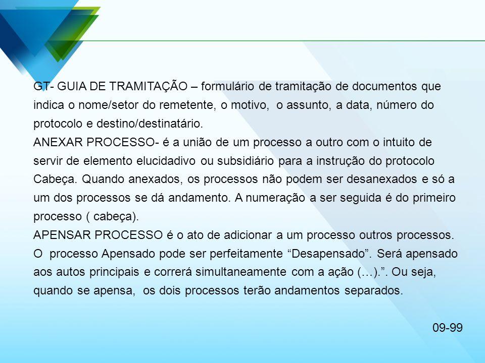 GT- GUIA DE TRAMITAÇÃO – formulário de tramitação de documentos que indica o nome/setor do remetente, o motivo, o assunto, a data, número do protocolo