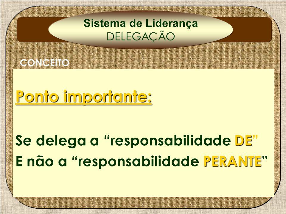 Ponto importante: DE Se delega a responsabilidade DE PERANTE E não a responsabilidade PERANTE CONCEITO Sistema de Liderança DELEGAÇÃO