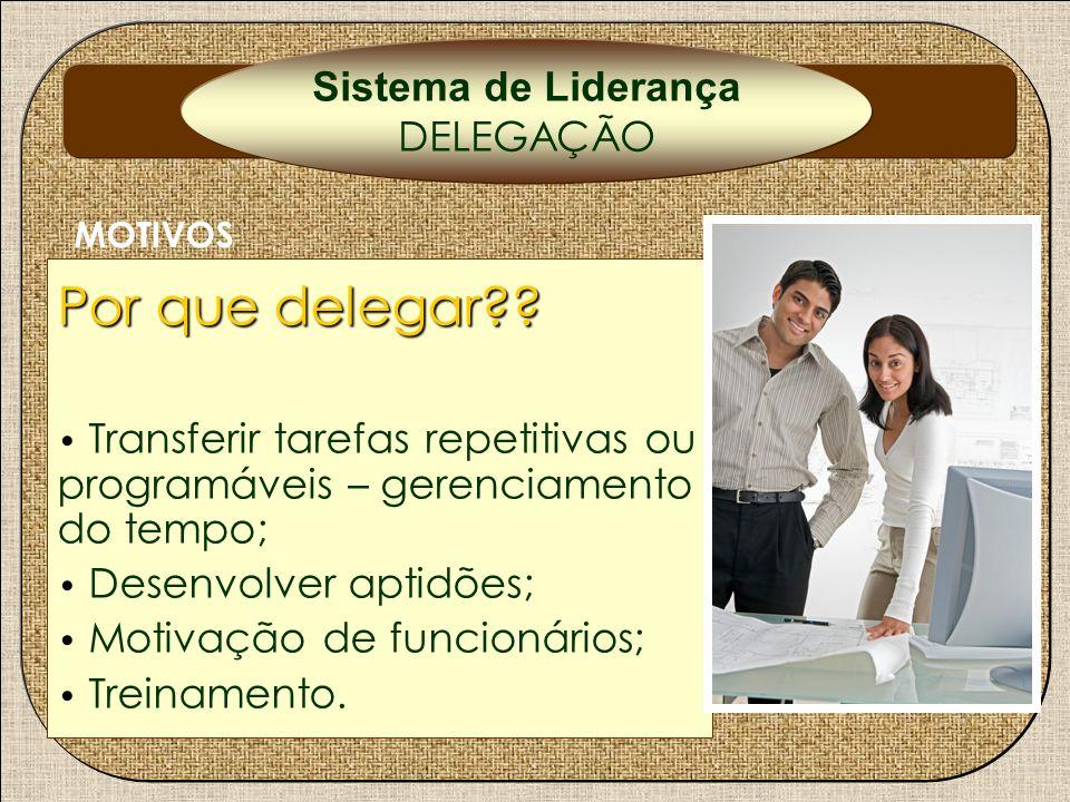 Por que delegar?? Transferir tarefas repetitivas ou programáveis – gerenciamento do tempo; Desenvolver aptidões; Motivação de funcionários; Treinament