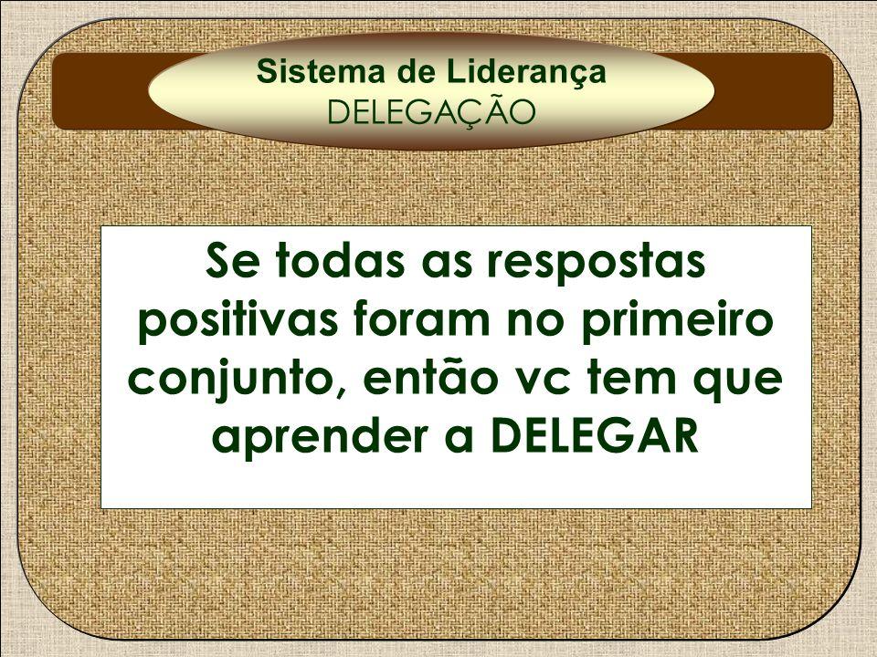 Delegação Se todas as respostas positivas foram no primeiro conjunto, então vc tem que aprender a DELEGAR Sistema de Liderança DELEGAÇÃO