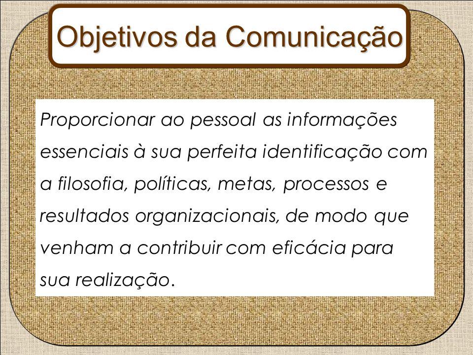 Proporcionar ao pessoal as informações essenciais à sua perfeita identificação com a filosofia, políticas, metas, processos e resultados organizaciona