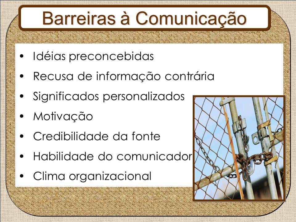 Barreiras à Comunicação Idéias preconcebidas Recusa de informação contrária Significados personalizados Motivação Credibilidade da fonte Habilidade do