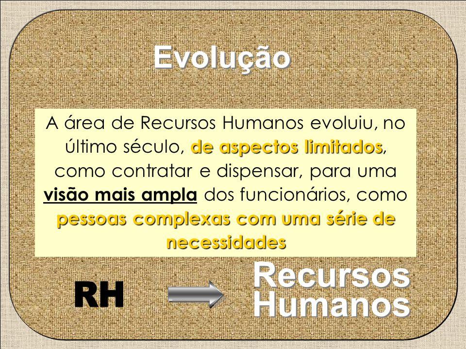 de aspectos limitados pessoas complexas com uma série de necessidades A área de Recursos Humanos evoluiu, no último século, de aspectos limitados, com