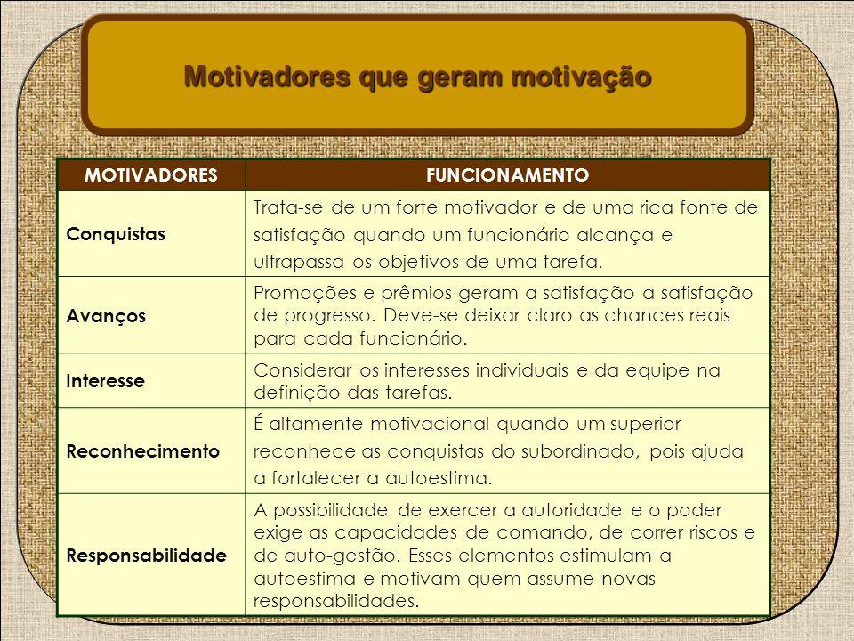 Motivadores que geram motivação MOTIVADORESFUNCIONAMENTO Conquistas Trata-se de um forte motivador e de uma rica fonte de satisfação quando um funcion
