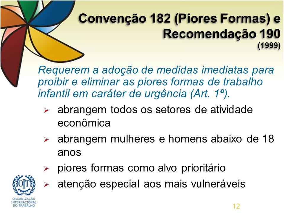 12 Requerem a adoção de medidas imediatas para proibir e eliminar as piores formas de trabalho infantil em caráter de urgência (Art.