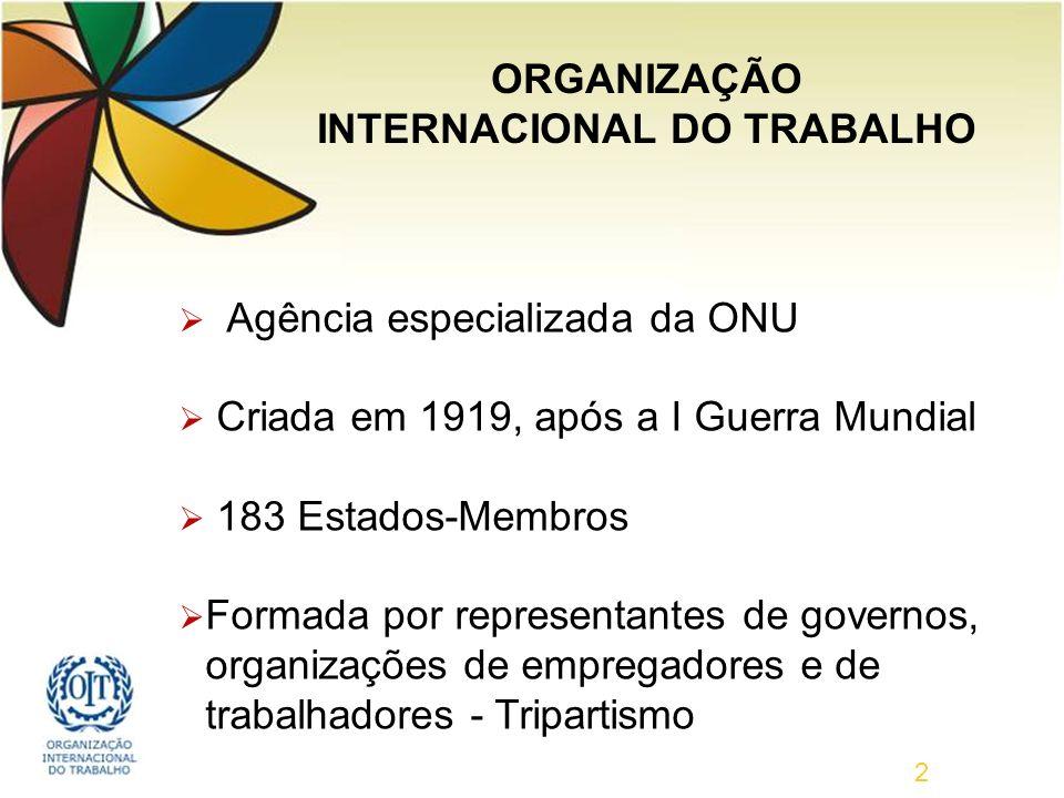 2 Agência especializada da ONU Criada em 1919, após a I Guerra Mundial 183 Estados-Membros Formada por representantes de governos, organizações de empregadores e de trabalhadores - Tripartismo ORGANIZAÇÃO INTERNACIONAL DO TRABALHO