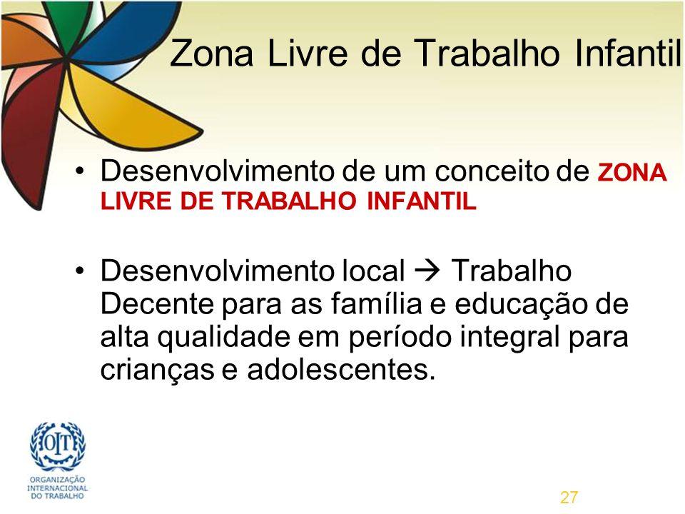 27 Desenvolvimento de um conceito de ZONA LIVRE DE TRABALHO INFANTIL Desenvolvimento local Trabalho Decente para as família e educação de alta qualidade em período integral para crianças e adolescentes.