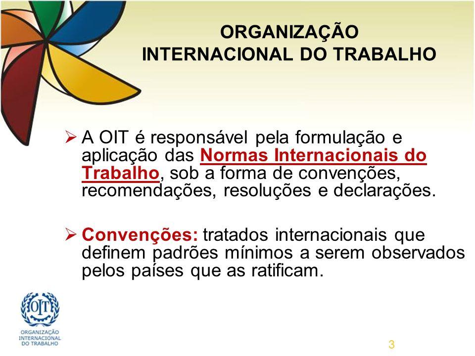 3 A OIT é responsável pela formulação e aplicação das Normas Internacionais do Trabalho, sob a forma de convenções, recomendações, resoluções e declarações.