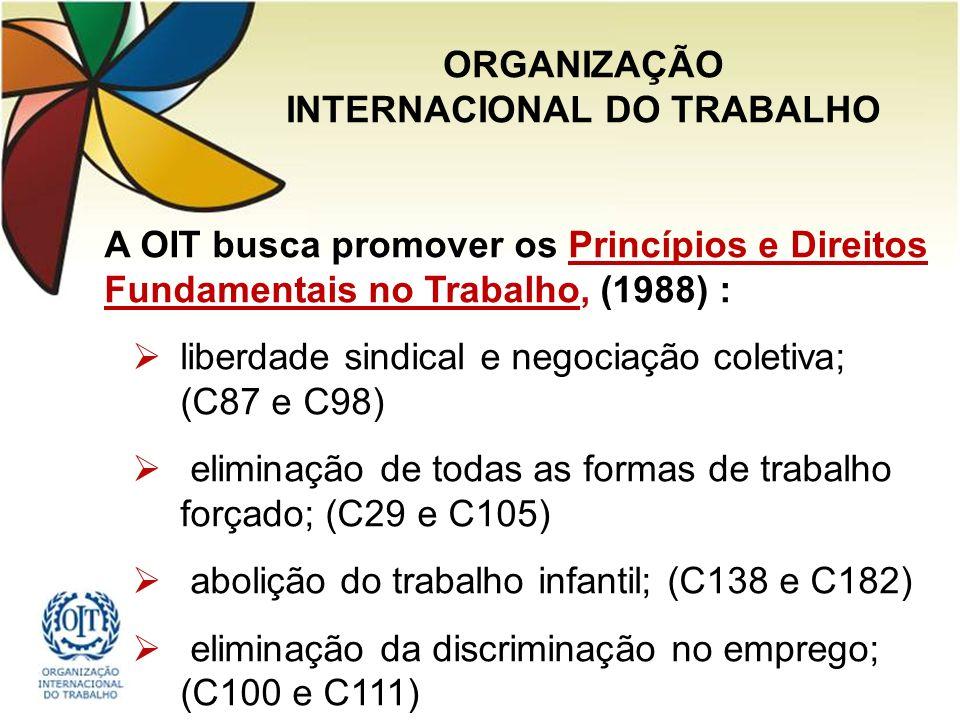 A OIT busca promover os Princípios e Direitos Fundamentais no Trabalho, (1988) : liberdade sindical e negociação coletiva; (C87 e C98) eliminação de todas as formas de trabalho forçado; (C29 e C105) abolição do trabalho infantil; (C138 e C182) eliminação da discriminação no emprego; (C100 e C111) ORGANIZAÇÃO INTERNACIONAL DO TRABALHO