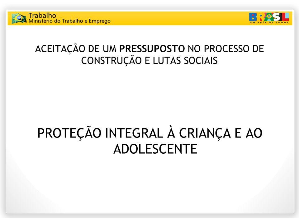 ACEITAÇÃO DE UM PRESSUPOSTO NO PROCESSO DE CONSTRUÇÃO E LUTAS SOCIAIS PROTEÇÃO INTEGRAL À CRIANÇA E AO ADOLESCENTE
