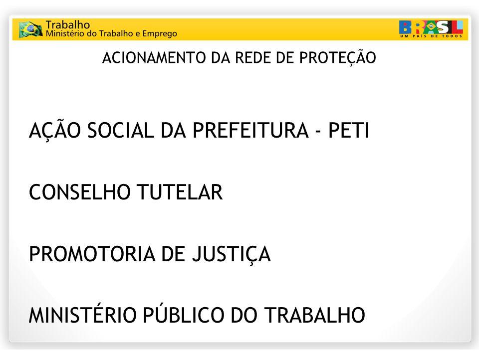 ACIONAMENTO DA REDE DE PROTEÇÃO AÇÃO SOCIAL DA PREFEITURA - PETI CONSELHO TUTELAR PROMOTORIA DE JUSTIÇA MINISTÉRIO PÚBLICO DO TRABALHO
