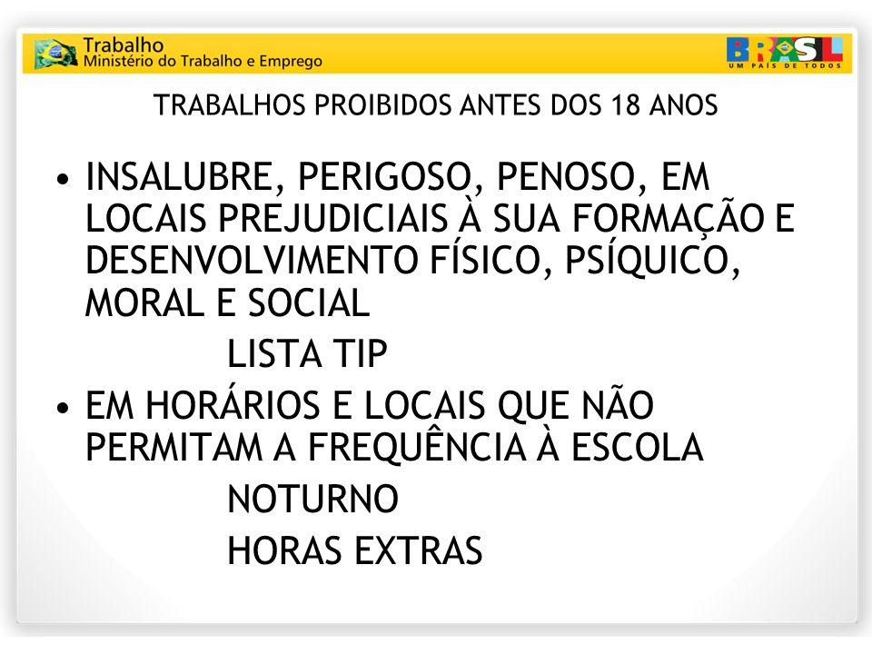 TRABALHOS PROIBIDOS ANTES DOS 18 ANOS INSALUBRE, PERIGOSO, PENOSO, EM LOCAIS PREJUDICIAIS À SUA FORMAÇÃO E DESENVOLVIMENTO FÍSICO, PSÍQUICO, MORAL E SOCIAL LISTA TIP EM HORÁRIOS E LOCAIS QUE NÃO PERMITAM A FREQUÊNCIA À ESCOLA NOTURNO HORAS EXTRAS