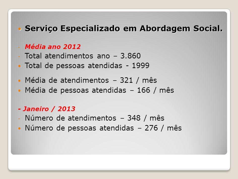 Serviço Especializado em Abordagem Social. Serviço Especializado em Abordagem Social. - Média ano 2012 - Total atendimentos ano – 3.860 Total de pesso