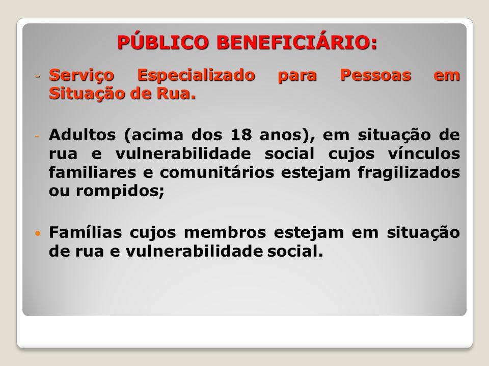 PÚBLICO BENEFICIÁRIO: - Serviço Especializado para Pessoas em Situação de Rua. - Adultos (acima dos 18 anos), em situação de rua e vulnerabilidade soc