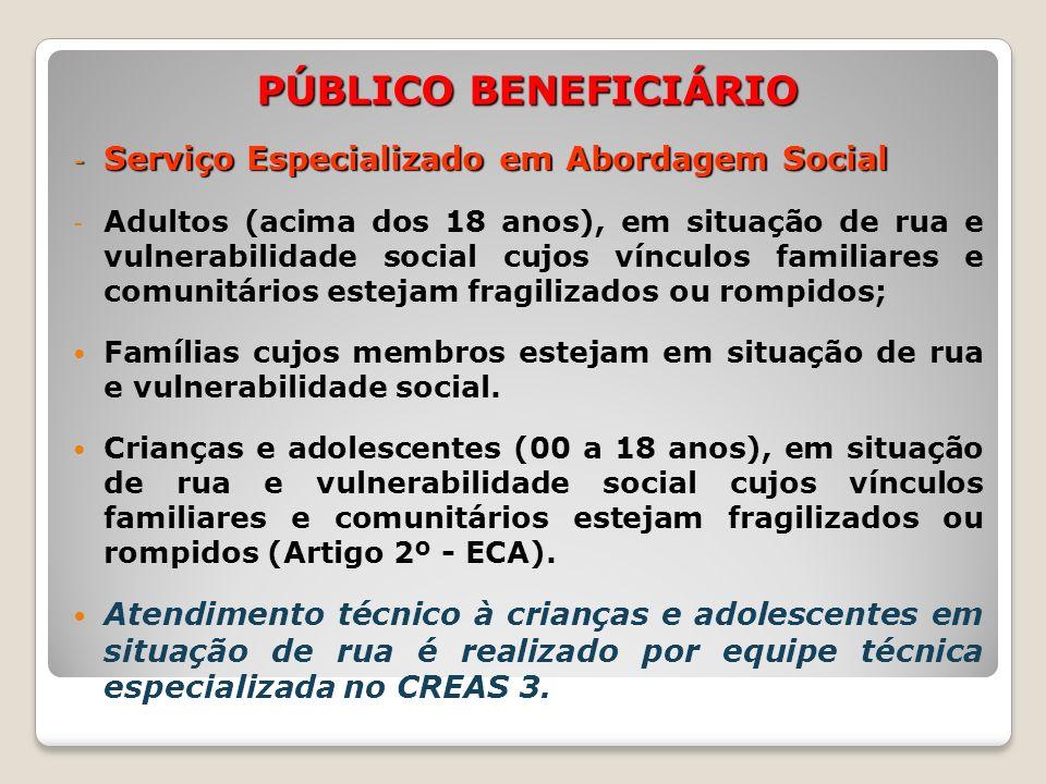 PÚBLICO BENEFICIÁRIO - Serviço Especializado em Abordagem Social - Adultos (acima dos 18 anos), em situação de rua e vulnerabilidade social cujos vínc