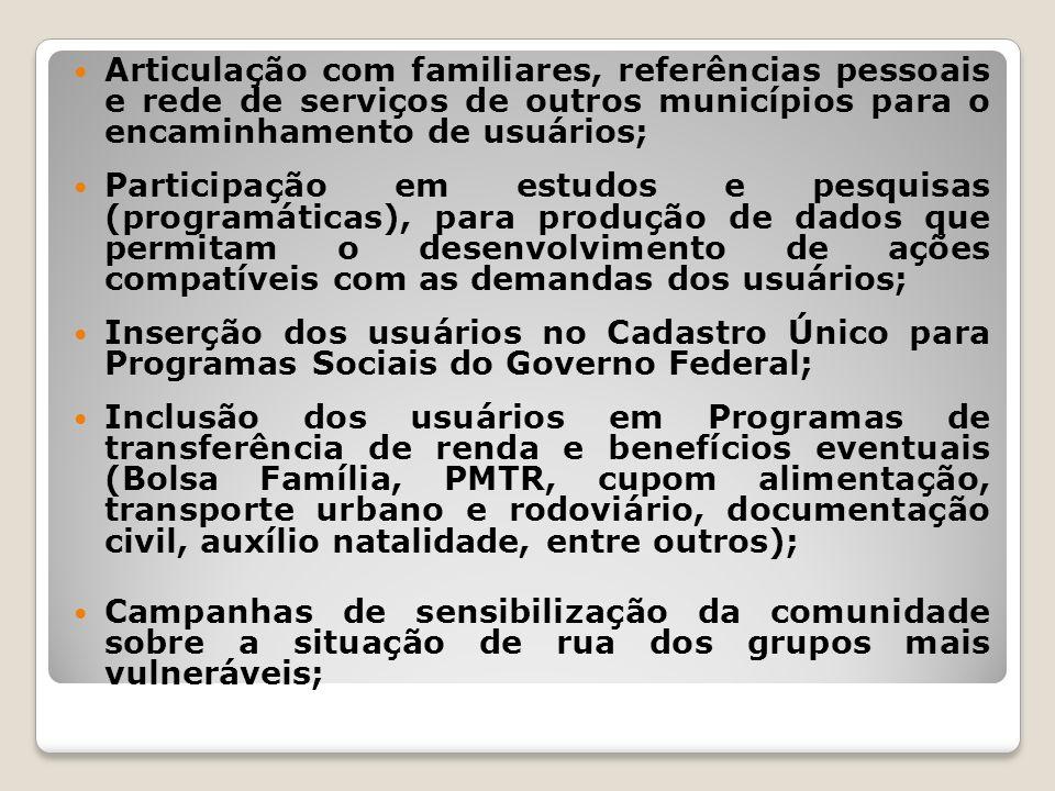 Articulação com familiares, referências pessoais e rede de serviços de outros municípios para o encaminhamento de usuários; Participação em estudos e