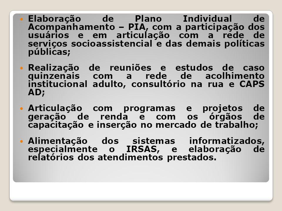 Elaboração de Plano Individual de Acompanhamento – PIA, com a participação dos usuários e em articulação com a rede de serviços socioassistencial e da