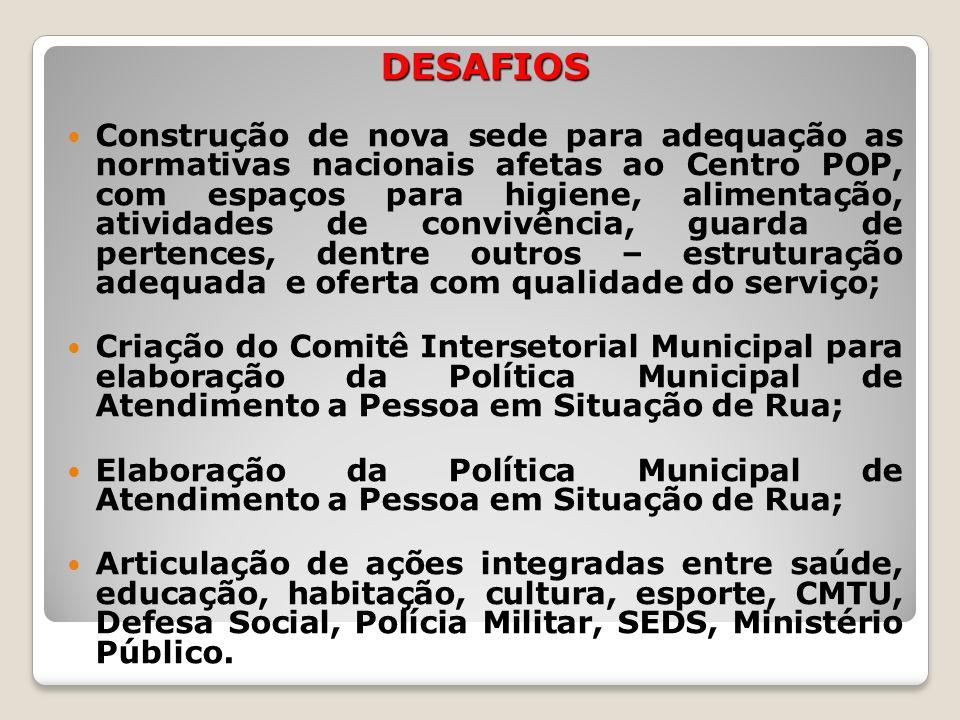 DESAFIOS Construção de nova sede para adequação as normativas nacionais afetas ao Centro POP, com espaços para higiene, alimentação, atividades de con