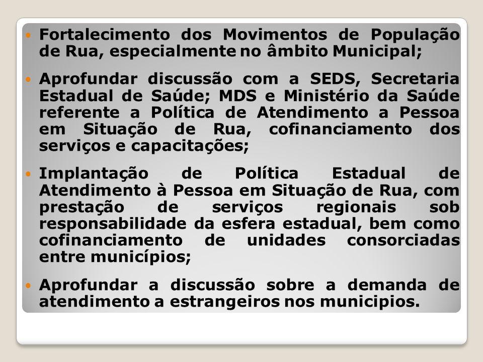 Fortalecimento dos Movimentos de População de Rua, especialmente no âmbito Municipal; Aprofundar discussão com a SEDS, Secretaria Estadual de Saúde; M
