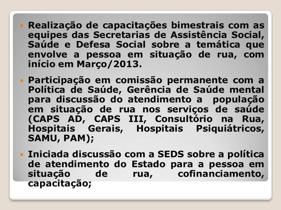 Realização de capacitações bimestrais com as equipes das Secretarias de Assistência Social, Saúde e Defesa Social sobre a temática que envolve a pessoa em situação de rua, com início em Março/2013.
