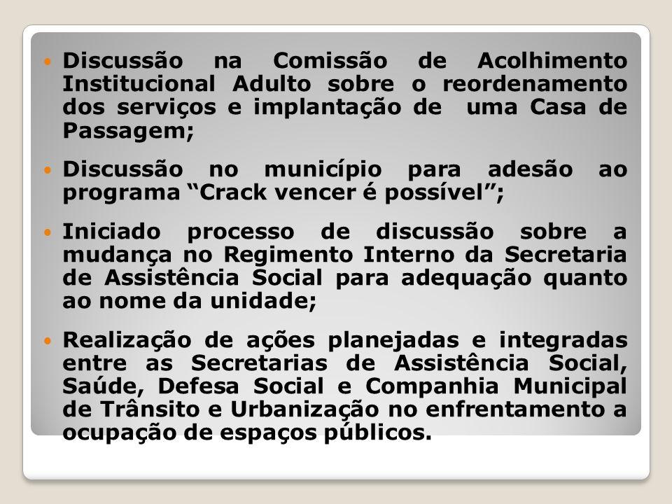 Discussão na Comissão de Acolhimento Institucional Adulto sobre o reordenamento dos serviços e implantação de uma Casa de Passagem; Discussão no munic