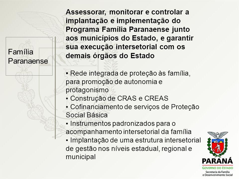 Família Paranaense Assessorar, monitorar e controlar a implantação e implementação do Programa Família Paranaense junto aos municípios do Estado, e ga