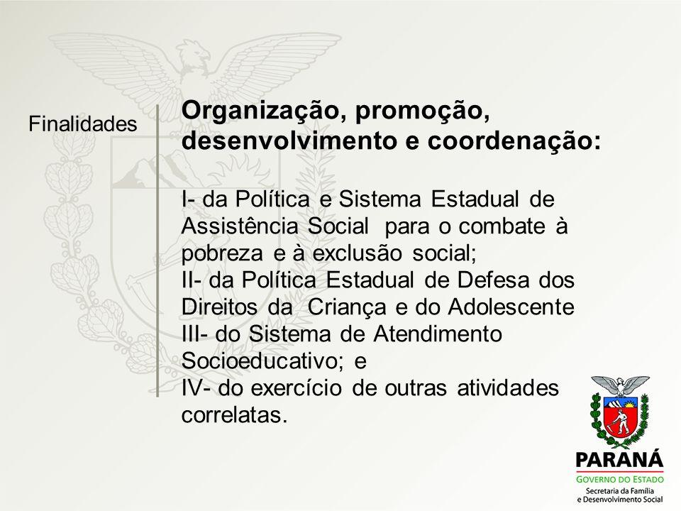 Organização, promoção, desenvolvimento e coordenação: I- da Política e Sistema Estadual de Assistência Social para o combate à pobreza e à exclusão so