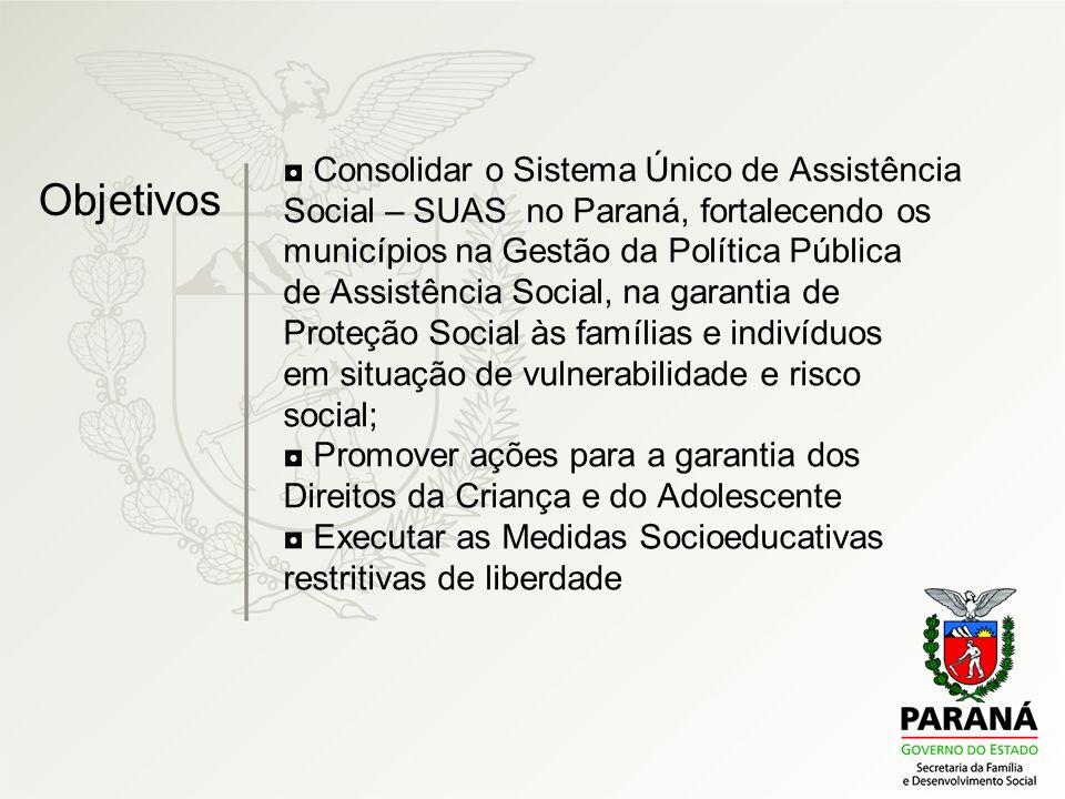 Consolidar o Sistema Único de Assistência Social – SUAS no Paraná, fortalecendo os municípios na Gestão da Política Pública de Assistência Social, na