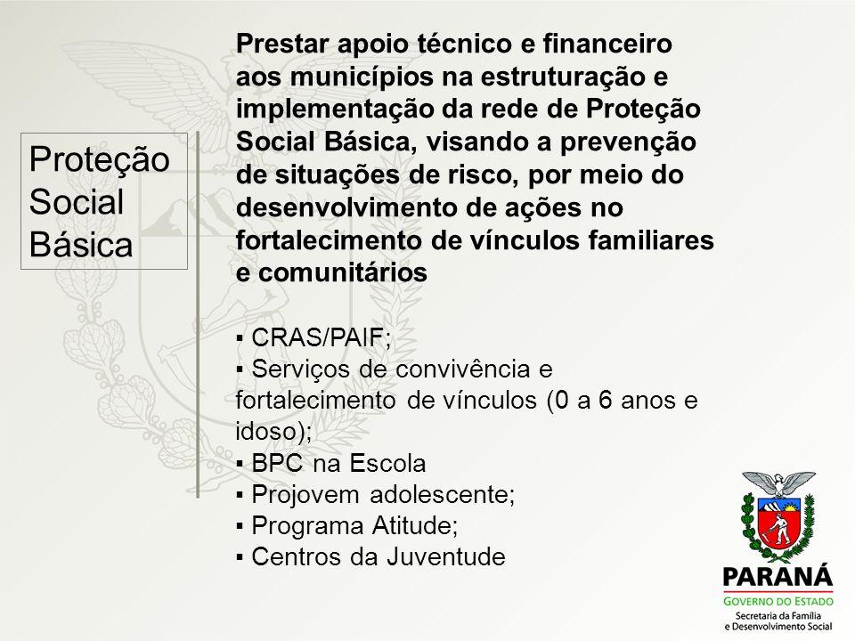 Proteção Social Básica Prestar apoio técnico e financeiro aos municípios na estruturação e implementação da rede de Proteção Social Básica, visando a
