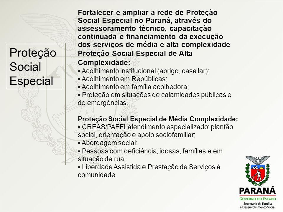 Proteção Social Especial Fortalecer e ampliar a rede de Proteção Social Especial no Paraná, através do assessoramento técnico, capacitação continuada