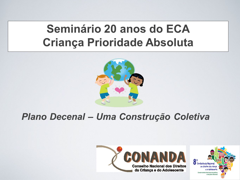 Plano Decenal – Uma Construção Coletiva Seminário 20 anos do ECA Criança Prioridade Absoluta