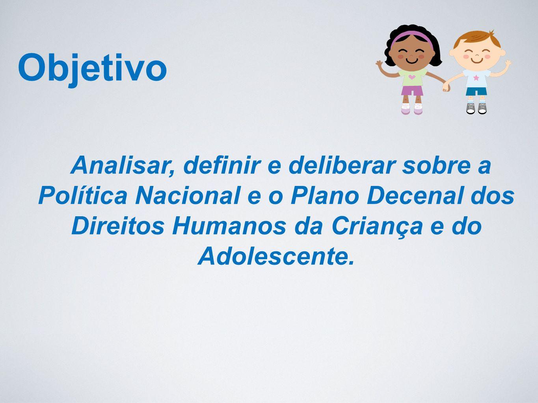 Objetivo Analisar, definir e deliberar sobre a Política Nacional e o Plano Decenal dos Direitos Humanos da Criança e do Adolescente.
