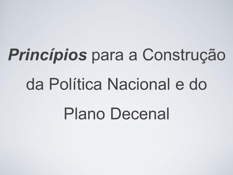 Princípios para a Construção da Política Nacional e do Plano Decenal