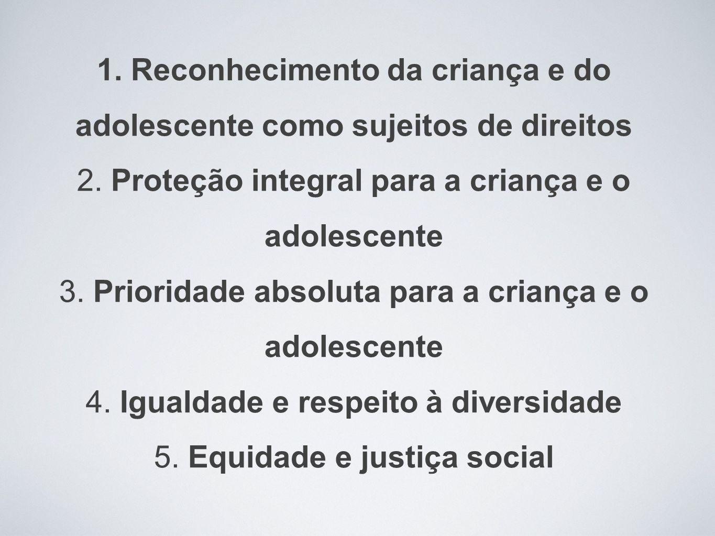 1. Reconhecimento da criança e do adolescente como sujeitos de direitos 2.